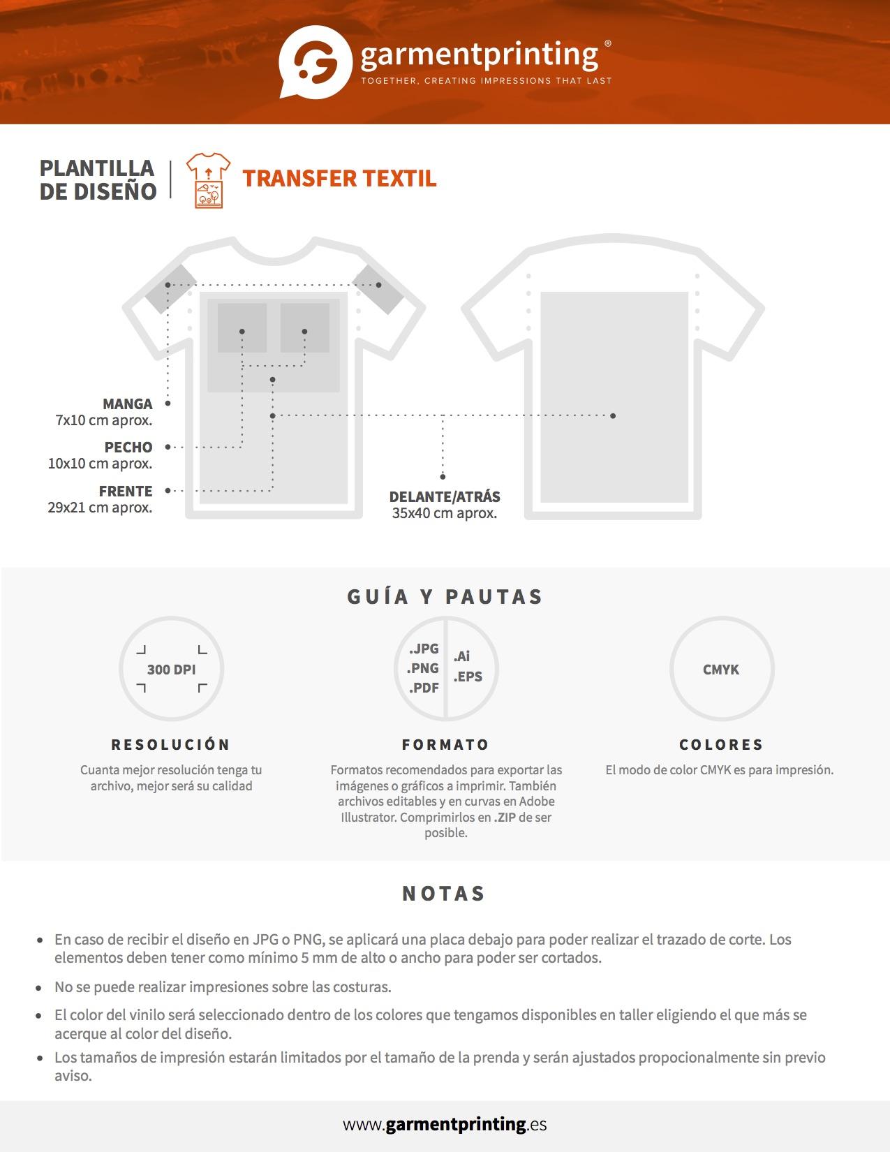 Pautas de Impresión Transfer Textil